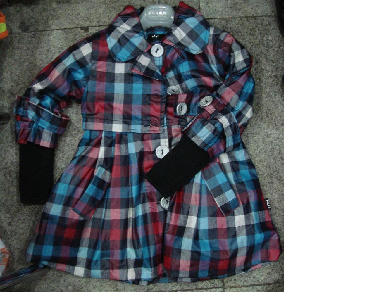 Пальто для девочки, клетка, из водонепроницаемой ткани, р-ры 30-32-34